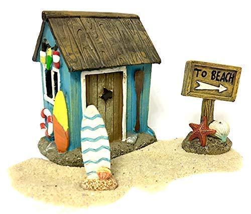 Pabu Guli Miniatur-Strand-Set mit Surf Shack, Strandschild, Surfbrett und Sand für Feengarten, Terrarium oder Heimdekoration
