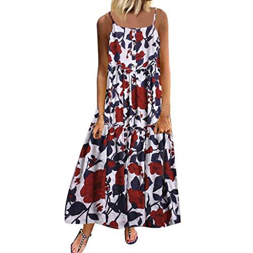 YUHUISTART Kleid Damen Sommer Kurzarm Plus Größ Beiläufige Lose Armellose Kleid Boho Retro Leinen Print Lange Maxi - Boogie Woogie Tanz Kostüm