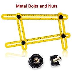 Multi Angle Measuring Ruler - Viden 2nd Generation Easy Angle Ruler, Metal Bolts & Nuts, Angleizer Template Tool, Universal Angularizer Ruler, Scale Ruler For Handymen, Builders, Craftsmen, Carpente