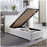 Moebella Polsterbett Bett mit Bettkasten 90x200 Weiß Betty Lattenrost Einzelbett Kinderbett