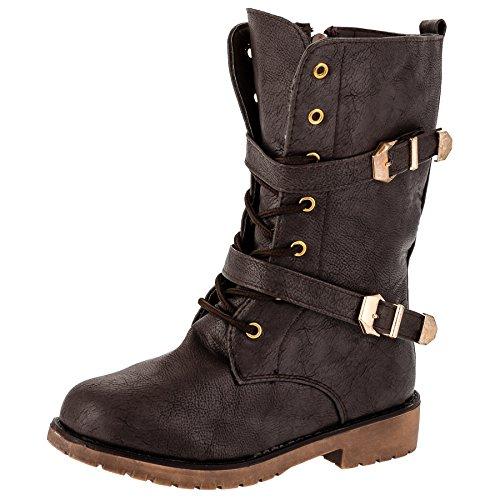 Kleine Mädchen-schnee-stiefel (Mädchen Stiefel Boots Stiefeletten mit kleinem Absatz in 3 Farben (36, #223bn Braun))