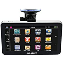 "KKmoon 7"" HD GPS Navegador Portátil (128MB RAM, 4GB ROM, FM, MP3, Reproductor Video, Entretenimiento de Coche, con Soporte Ventosa, Mapa Europea)"