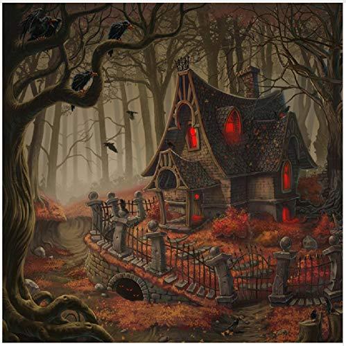 ei Halloween 5D DIY Schrecklichen Punkt Muster Strass Geklebt Kreuzstich Home Dekorative Geschenk 40X50CM ()