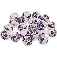 20pcs Flojo Del Espaciador Granos Encantos De Cerámica De Porcelana Flor - Púrpura