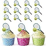 Cupcake-Dekoration Tennisschläger und Ball, 12 Stück