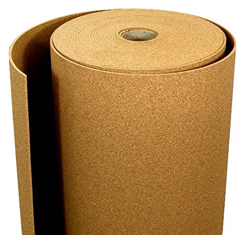 Rotolo di sughero 6 mm x 1m - per varie applicazioni, supercompresso, antistatico, fonoassorbente, a grana fine, sughero naturale di alta qualità per la hobby, casa e l'ufficio. (1m2)
