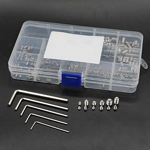Malayas®240 Stück Gewindestifte Innensechkant Schrauben Set Madenschrauben Sortiment aus Edelstahl M3 M4 M5 M6 M8 Inbusschlüssel M1.5 M2 M2.2 M3 M4 Gewinde Schrauben Kit