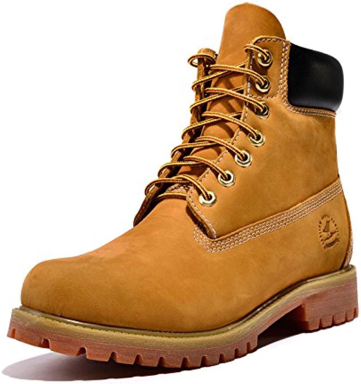 LEDLFIE Martin Stiefel Herren Stiefel Booties Militärstiefel Gelbe Stiefel Desert Lederstiefel High Top Gangs
