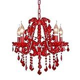 Lightinthebox Kerze Kristall Kronleuchter mit 5 Lichtern, modern Home Deckenleuchte-, Flush Mount, Anhänger Light Kronleuchter Beleuchtung Rot