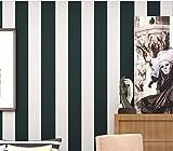 YUELA Selbstklebende Vliestapeten 3D Stereo blauen Streifen Mediterrane warme Schlafzimmer Wohnzimmer Hintergrund Tapete 0.53 × 9 M, 6605 - schwarze und weiße Streifen, Wallpaper nur