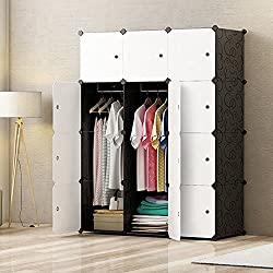 PREMAG DIY Portable Wardrobe Closet, Modular Storage Organizer, Space Saving Armoire, Deeper Cube With Hanging Rod 12 cubes