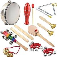 Los instrumentos musicales de los niños fijan los juguetes musicales de madera con el bolso que lleva