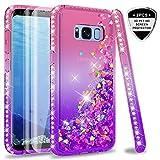 LeYi Coque Galaxy S8 Etui avec Pet Protection écran [Lot de 2], Fille Personnalisé Liquide Paillette Flottant Transparente 3D Silicone Gel TPU Antichoc Kawaii Étui pour Samsung S8 Rose Violet