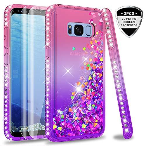LeYi Hülle Galaxy S8 Glitzer Handyhülle mit Full Cover 3D PET Schutzfolie(2 Stück),Diamond Rhinestone Bumper Schutzhülle für Case Samsung Galaxy S8 Handy Hüllen ZX Gradient Pink Purple - Pink Cover Schutzfolie