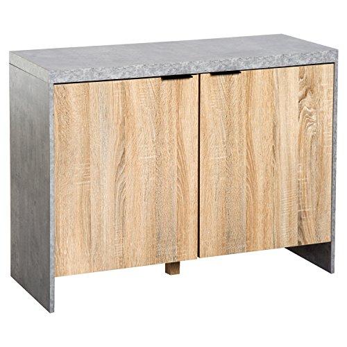 Homcom Sideboard Schrank Dielenschrank 4 Fächer Wohnzimmer Holzfarbe 100 x 40 x 75cm