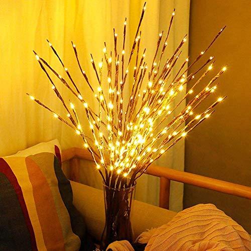 Pkfinrd Birnen Weidenzweig Lichter Natur Hoch Vaseenfüller Willow Zweig beleuchteter Zweig Weihnachten Hochzeit dekorative Leuchten (Color : Warm White)