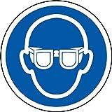 International ISO Augenschutz erfordert Symbol Sicherheitszeichen - Selbstklebende Aufkleber 100mm Durchmesser
