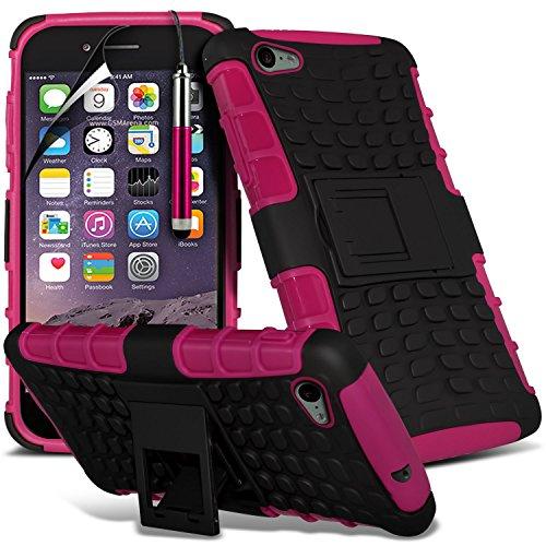 i-Tronixs High Quality Designed Premium-PU-Leder Geldbörse Book Flip Mit 3 Kredit / Bankkarte Slot-Kasten-Haut-Abdeckung mit LCD-Display Schutzfolie und Poliertuch für Apple Iphone 6 4.7 inch SPROOF Hot Pink + Pen