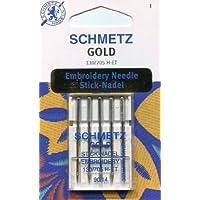 Schmetz Titanio Dorado Bordado de aguja (paquetes de 5), dorado, 90/14 (Thickest)