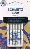 Schmetz Gold Titanium Embroidery Needle Range (Packs of 5) (90/14 (Thickest)) by Schmetz
