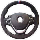 Coprivolante per auto, in pelle scamosciata nera con cuciture a mano Copri volante per BMW 316i 320i 328i 320d F20 F45 F30 F31 F34 F32 F33 F36 (Color : Green Thread)