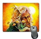 Naturkautschuk-Mausunterlage / -Matte mit genähten Rändern; fantastisches Elfenfeenmannporträt mit schöner bunter Malerei des Löwenzahns eines Elven creeple3