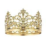 BESTONZON Corona d'oro Cake Topper Vintage Crown Gold Wedding/Decorazione torta di compleanno per il re, la regina, il principe e la principessa Party (Oro)