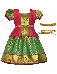 ddcc476518fd8d Amirtha Fashion Girls Traditional Pattu Pavadai with Waist Belt - Saranya  Pattu (AMFSYPG -