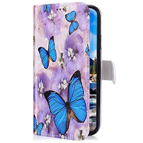 Uposao Kompatibel mit iPhone 11 Handyhülle Lederhülle Bunt Retro Muster Schutzhülle Flip Case Handy Tasche Wallet Hülle Bookstyle Klapphülle Kartenfächer,Lila Blumen Schmetterling