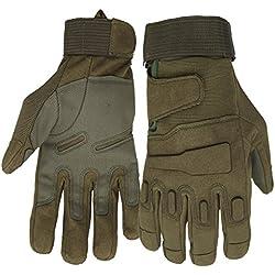 Mimicool Guantes al aire libre de los hombres llenos del dedo guantes tácticos militares patín de desgaste contra guantes resistentes ciclo de la bicicleta de la motocicleta (army green, M)