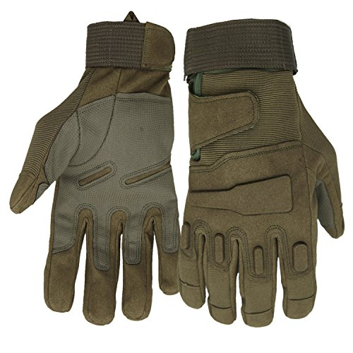 Mimicool Herren Outdoor-Handschuhe Full Finger Military Tactical Handschuhe Anti-Rutsch Verschleißbeständige Fahrrad-Radfahren Motorrad-Handschuhe (army green, L)