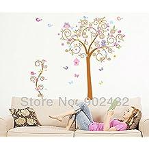2016NEW diseño de búho mariposa árbol pared vinilo adhesivo adhesivos para guardería habitación infantil decoración del hogar