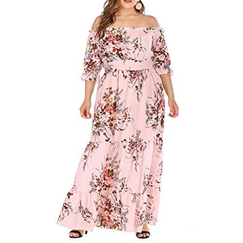 mat Kleid Plus Size Sommer Schulterfrei Halbarm Boho Party Maxikleid Lose Bequem Täglich Freizeit Kleiden(Pink,XXL) ()