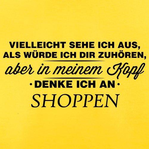 Vielleicht sehe ich aus als würde ich dir zuhören aber in meinem Kopf denke ich an Shoppen - Herren T-Shirt - 13 Farben Gelb