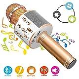 Phiraggit Microphone Karaoke sans Fil Bluetooth Karaoké, Micro sans Fil Mini Karaoké Portable avec Haut-Parleur pour Les Adultes d'enfants Partie Ktv à La Maison pour Android/Iphone/Ipad/Pc