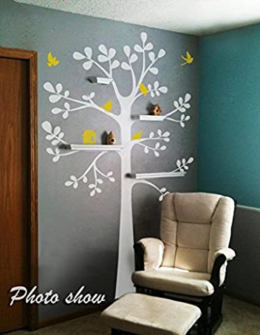 Tree Wall Decal - Shelving Tree Decal with Birds Vinyl Tree Wall Sticker Nursery Wall Decal Nursery Room Art Decor A(tree:White;birds and nest:Light Yellow) by WallsUp
