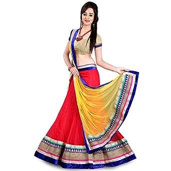 Anu Clothing Women's Net Lehenga Choli (Aasr005) (Red) (Free Size)