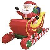 1,8 M Weihnachtsmann On Schlitten Schlitten Selbst Aufblasende Inflatable Elektrisch Zum Aufblasen Riese Groß Draußen Garten Weihnachten Weihnachten Figur Statue
