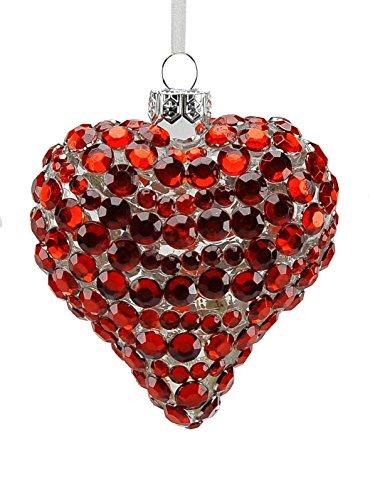 Boule en verre cœur rouge cm.8