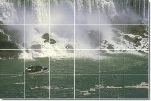 CASCADAS FOTO TILE MURAL 18  32X 48PULGADAS DE PARED CON (24) 8X 8AZULEJOS DE CERAMICA