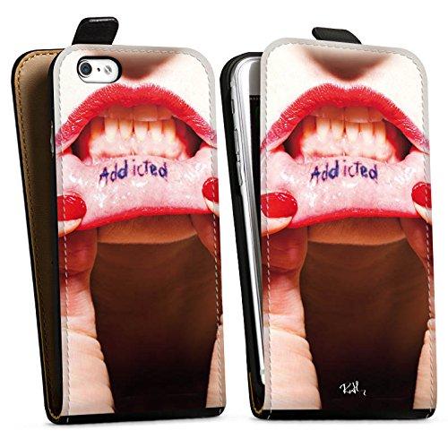 Apple iPhone X Silikon Hülle Case Schutzhülle Oliver Rath Lippen Frau Downflip Tasche schwarz