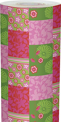Clairefontaine Alliance Rouleau de papier cadeau 50 x 0,7 m Motif Patchwork Printemps Rose/Vert