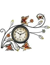 AMS 9446–Reloj de pared de cuarzo, caja de metal con metal bordados