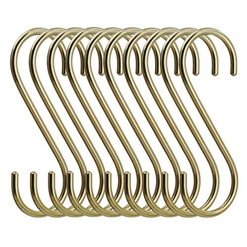 simpletome 10ST S-Haken Kupfer Haken S-förmige Anti-Rost Metall Kleiderbügel Metall Haken Pothooks für Küche Badezimmer Schlafzimmer (Gold)