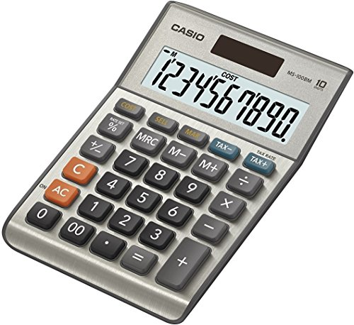 CASIO MS-100BM Tischrechner kompakt mit Metallfront silber, 10-stelliges Display, Steuer-Berechnung, Profit-Berechnung