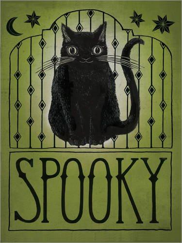 (Posterlounge Alubild 30 x 40 cm: Vintage Halloween Spooky Katze von Sara Zieve Miller/Wild Apple Graphics)