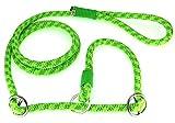 Retrieverleine Grün/gelb mit Neon Grün 10mm Nr.3 - leichte Hundeleine incl.verstellbarem Halsband aus speziell entwickeltem PPM Seil und Paracord.Mondox-Leine mit Zugstopp.Handgefertigt in Deutschland