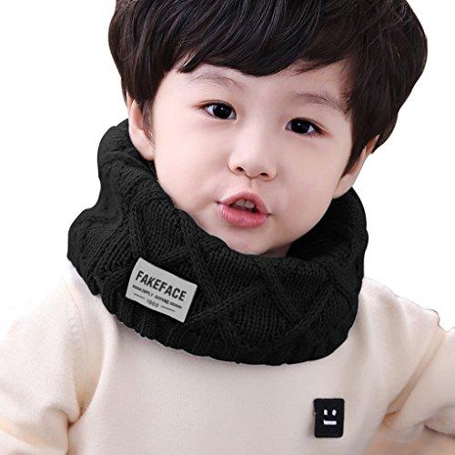 Kinder Winter Schlauchschal Haslwärmer Warm Rundschal Outdoor O Ring Schals Halstuch für Jungen und Mädchen (3 -11 Jahre), Schwarz, One Size