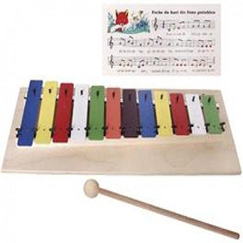 New Classic Toys 10211 Metallophon Holzspielzeug 6 Töne mit Griff