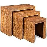 Set de 3 mesas nido de madera de Mango, modelo vintage